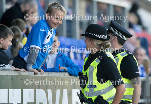 St Johnstone v Hibs &hellip;09.09.17&hellip; McDiarmid Park&hellip; SPFL<br />Officers from Police Scotland engaging with young fans in the friends and family stand<br />Picture by Graeme Hart.<br />Copyright Perthshire Picture Agency<br />Tel: 01738 623350  Mobile: 07990 594431