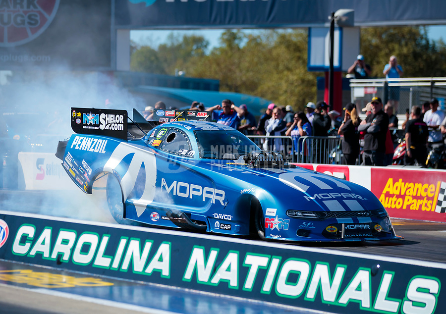 Oct 14, 2019; Concord, NC, USA; NHRA funny car driver Matt Hagan during the Carolina Nationals at zMax Dragway. Mandatory Credit: Mark J. Rebilas-USA TODAY Sports
