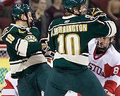 Ben Albertson (Vermont - 18), Brooks Herrington (Vermont - 10) - The visiting University of Vermont Catamounts tied the Boston University Terriers 3-3 in the opening game of their weekend series at Agganis Arena in Boston, Massachusetts, on Friday, February 25, 2011.
