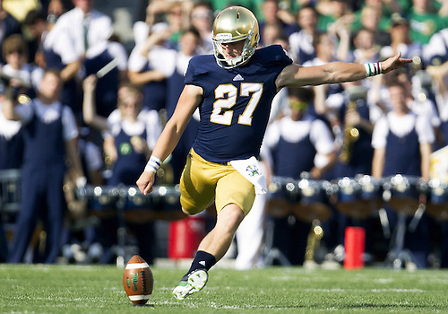 August 31, 2013:  Notre Dame kicker/punter Kyle Brindza (27) during NCAA Football game action between the Notre Dame Fighting Irish and the Temple Owls at Notre Dame Stadium in South Bend, Indiana.  Notre Dame defeated Temple 28-6.