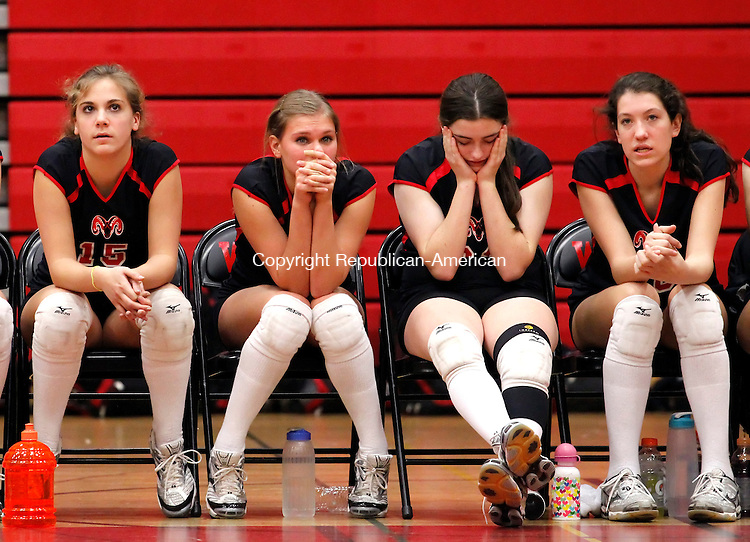 Fairfield, CT- 18, November 2010-111810CM01 Cheshire High School volleyball players have a hard time keeping their eyes on the third match against Greenwich at Fairfield Warde High Thursday night.  Greenwhich defeated Cheshire 3-0, advancing to the Class L State Finals.   Christopher Massa Republican-American