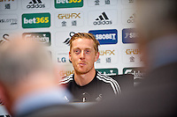 Friday 14th February 2014  Pictured: Garry Mon kRe:Swansea City Press conference ahead the FA cup clash  clash against Roberto Martinez' Everton