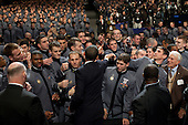 West Point, NY - December 1, 2009 -- United States President Barack Obama greets cadets after delivering a speech on Afghanistan at the U.S. Military Academy at West Point in West Point, New York, Tuesday, December 1, 2009..Mandatory Credit: Pete Souza - White House via CNP