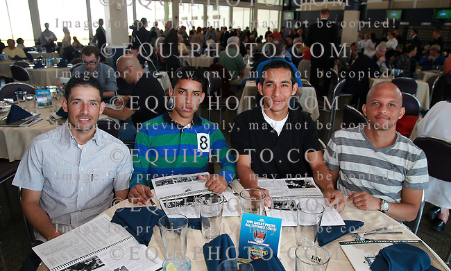 (L to R) Jockeys Eddie Castro, Armando Ayuso, Paco Lopez and Pedro Cotto, Jr. attend the Opening Day Press Conference and Luncheon at Monmouth Park Racetrack in Oceanport, New Jersey on Tuesday May 6, 2014.  Monmouth Park opens for it's 69th Season of Thoroughbred Racing this Saturday May 10th.  Photo By Bill Denver/EQUI-PHOTO.