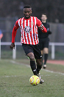 Nnamdi Nwachuku of Hornchurch runs with the ball - AFC Hornchurch vs Bognor Regis Town - Ryman League Premier Division Football at The Stadium, Bridge Avenue, Upminster - 07/02/15 - MANDATORY CREDIT: Mark Hodsman/TGSPHOTO - Self billing applies where appropriate - contact@tgsphoto.co.uk - NO UNPAID USE