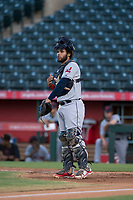 AZL Indians 2 catcher Felix Fernandez (9) during an Arizona League game against the AZL Angels at Tempe Diablo Stadium on June 30, 2018 in Tempe, Arizona. The AZL Indians 2 defeated the AZL Angels by a score of 13-8. (Zachary Lucy/Four Seam Images)