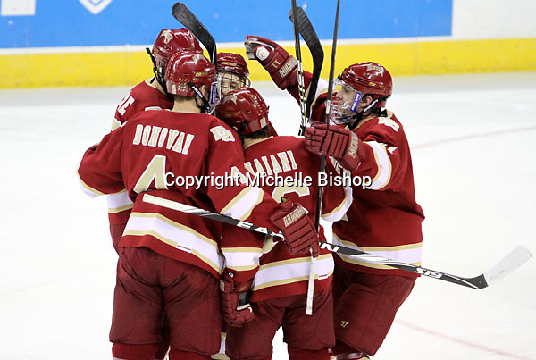 Denver celebrates Drew Shore's goal during the first period. Denver beat Nebraska-Omaha 4-2 Saturday night at Qwest Center Omaha. (Photo by Michelle Bishop)