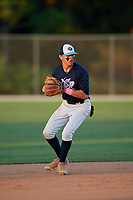 Blake Vineyard during the WWBA World Championship at the Roger Dean Complex on October 20, 2018 in Jupiter, Florida.  Blake Vineyard is a shortstop from Panama City, Florida who attends A. Crawford Mosley High School.  (Mike Janes/Four Seam Images)