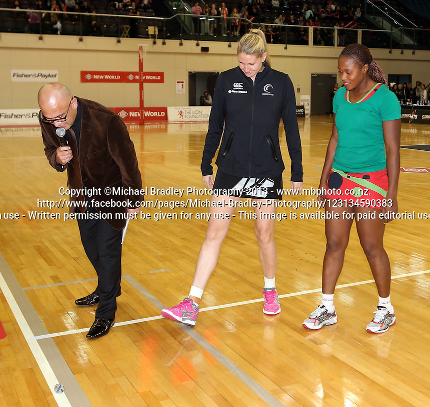 24.10.2013 Action during the Silver Ferns V Malawi New World Netball Series played at the TSB Bank Arena in Wellington. Mandatory Photo Credit ©Michael Bradley.