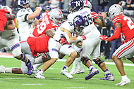 Indianapolis, IN - December 1, 2018: Northwestern Wildcats running back Isaiah Bowser (25) gets tackled during the Big Ten championship game between Northwestern  and Ohio State at Lucas Oil Stadium in Indianapolis, IN.   (Photo by Elliott Brown/Media Images International)