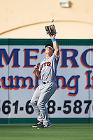 Jupiter Hammerheads left fielder Dexter Kjerstad (25) catches a fly ball during a game against the Palm Beach Cardinals on August 12, 2016 at Roger Dean Stadium in Jupiter, Florida.  Jupiter defeated Palm Beach 9-0.  (Mike Janes/Four Seam Images)