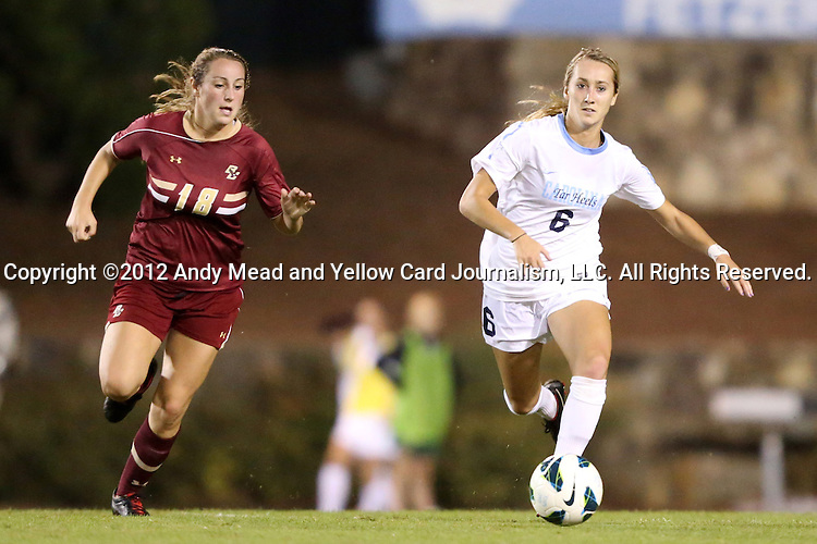 04 October 2012: UNC's Summer Green (6) and Boston College's Patrice Vettori (18). The University of North Carolina Tar Heels defeated the Boston College Eagles 1-0 at Fetzer Field in Chapel Hill, North Carolina in a 2012 NCAA Division I Women's Soccer game.