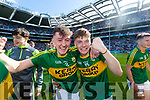 Sean O'Leary and Brian Friel Kerry players celebrate after defeating Derry in the All-Ireland Minor Footballl Final in Croke Park on Sunday.