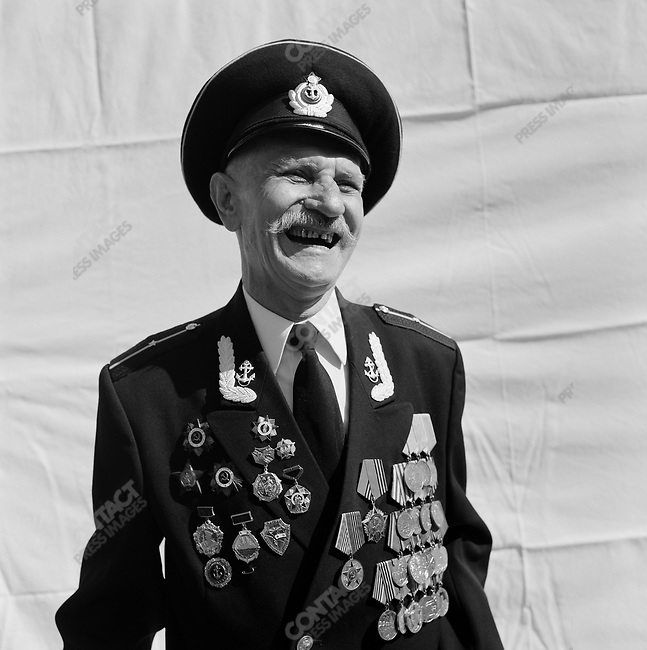 WWII veteran during Victory Day celebrations, Vladimir Ivanovich Sidenko, b. 1923, Ordinary Seaman, Navy. Moscow, Russia, May 9, 2009