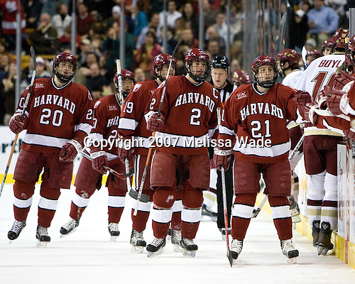 Brian McCafferty (Harvard University - Lexington, MA), Kevin Du (Harvard University - Spruce Grove, AB), Steve Rolecek (Harvard University - Bedford, NH), Dylan Reese (Harvard University - Pittsburgh, PA) and Alex Meintel (Harvard University - Yarmouth, ME) celebrate Reese's goal with their bench. The Boston College Eagles defeated the Harvard University Crimson 3-1 in the first round of the 2007 Beanpot Tournament on Monday, February 5, 2007, at the TD Banknorth Garden in Boston, Massachusetts.  The first Beanpot Tournament was played in December 1952 with the scheduling moved to the first two Mondays of February in its sixth year.  The tournament is played between Boston College, Boston University, Harvard University and Northeastern University with the first round matchups alternating each year.