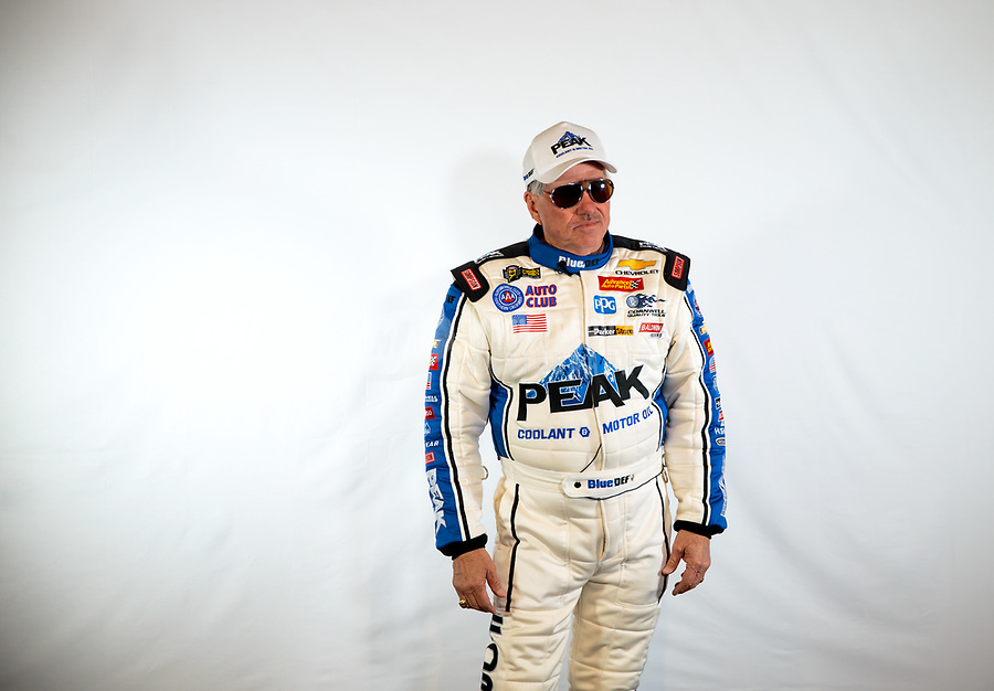 Feb 6, 2019; Pomona, CA, USA; NHRA funny car drivers John Force poses during NHRA Media Day at the NHRA Museum. Mandatory Credit: Mark J. Rebilas-USA TODAY Sports
