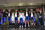 Great Britain Team at sign on before the Men Elite Road Race of the UCI World Championships 2019 running 280km from Leeds to Harrogate, England. 29th September 2019.<br /> Picture: Eoin Clarke | Cyclefile<br /> <br /> All photos usage must carry mandatory copyright credit (© Cyclefile | Eoin Clarke)