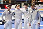 Japan team group, (L-R) Shun Tanaka, Tomohiro Shimamura, Kota Arai, Kenta Tokunan (JPN),<br /> AUGUST 10, 2013 - Fencing :<br /> World Fencing Championships Budapest 2013, Men's Team Sabre Round of 16 at Syma Hall in Budapest, Hungary. (Photo by Enrico Calderoni/AFLO SPORT) [0391]