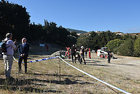Pictured:  Detective Inspector Jon Cousins (2nd L), from South Yorkshire Police addresses the media in Kos, Greece. Tuesday 27 September 2016<br /> Re: Police teams searching for missing toddler Ben Needham on the Greek island of Kos have said they are &quot;optimistic&quot; about new excavation work.<br /> Ben, from Sheffield, was 21 months old when he disappeared on 24 July 1991 during a family holiday.<br /> Digging has begun at a new site after a fresh line of inquiry suggested he could have been crushed by a digger.<br /> South Yorkshire Police (SYP) said it continued to keep an &quot;open mind&quot; about what happened to Ben.
