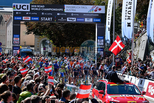 The start of the Men U23 Road Race of the 2018 UCI Road World Championships running 179.5km from Wattens to Innsbruck, Innsbruck-Tirol, Austria 2018. 28th September 2018.<br /> Picture: Innsbruck-Tirol 2018/Dario Belingheri/BettiniPhoto | Cyclefile<br /> <br /> <br /> All photos usage must carry mandatory copyright credit (© Cyclefile | Innsbruck-Tirol 2018/Dario Belingheri/BettiniPhoto)