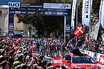 The start of the Men U23 Road Race of the 2018 UCI Road World Championships running 179.5km from Wattens to Innsbruck, Innsbruck-Tirol, Austria 2018. 28th September 2018.<br /> Picture: Innsbruck-Tirol 2018/Dario Belingheri/BettiniPhoto | Cyclefile<br /> <br /> <br /> All photos usage must carry mandatory copyright credit (&copy; Cyclefile | Innsbruck-Tirol 2018/Dario Belingheri/BettiniPhoto)