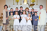 Receiving their Holy Communion in the Church of the Assumption in Knockaclarig on Saturday on Saturday was front row l-r: Eoin Collins, Norma Murphy, Chloe Lane, Emily Murphy, Josh Murphy. Back row: Ann Nash teacher, Cian Daly, Christopher Lane, Kevin O'Connor, Paul Walsh, Jacob Dempsey and Fr Tadgh Fitzgerald