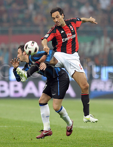 02 04 2011   Series A  A C Milan Inter Milan.  Alessandro Nesta challenges with Pazzini Inter