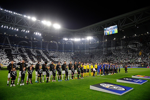 April 11th 2017, Juventus Stadium, Turin, Italy; UEFA Champions league football quarterfinal, leg 1, Juventus versus Barcelona; The J-stadium welcomes the teams at the beginning of the match