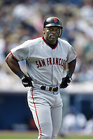 Reggie Sanders of the San Francisco Giants during a 2002 MLB season game against the Los Angeles Dodgers at Dodger Stadium, in Los Angeles, California. (Larry Goren/Four Seam Images)