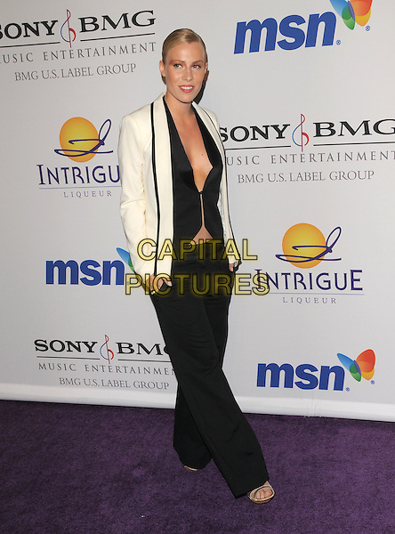 NATASHA BEDINGFIELD.The 2008 Clive Davis Pre-Grammy Party held at The Beverly Hilton Hotel in Beverly Hills, California on .February 9th, 2008          .full length beddingfield white tuxedo jacket black top open unbuttoned cleavage trousers .CAP/DVS.©Debbie VanStory/Capital Pictures.