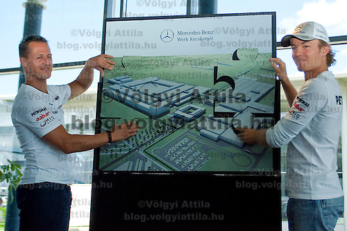 Formula One drivers Michael Schumacher and Nico Rosberg attends a Mercedes press conference in Fot, Hungary. Thursday, 29. July 2010. ATTILA VOLGYI