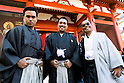 Malay tourists dressed in traditional Japanese kimono pose for a photograph at the entrance of Sensoji temple in Asakusa district on January 22, 2016, Tokyo, Japan. The Japan National Tourism Organization reported on Tuesday 19th a record increase in foreign visitors in 2015. Approximately 19.73 million people visited Japan from abroad, up 47.3 percent. According to the report there were more Chinese visitors than from any other nation with 4.99 million coming in 2015. South Korea (4 million) and Taiwan (3.67 million) were next on the list, and over 1 million Americans also visited Japan in 2015. The number of visitors is the highest in 45 years and already close to Japan's goal of attracting 20 million foreign visitors in a year by 2020. (Photo by Rodrigo Reyes Marin/AFLO)