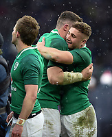 Ireland celebrate at the final whistle. Natwest 6 Nations match between England and Ireland on March 17, 2018 at Twickenham Stadium in London, England. Photo by: Patrick Khachfe / Onside Images