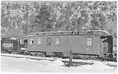 RGS ex-business car #021 as outfit car at Dolores.  Tender from RGS #42 used for coal and water storage.<br /> RGS  Dolores, CO  Taken by Richardson, Robert W. - 5/23/1951