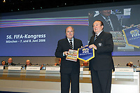8th June 2006; FIFA President Joseph S. Blatter (SUI) and Nicolas Leoz (Paraguay), CONMEBOL President and  Executive committee of FIFA; On April 6th 2020, in addition to Ricardo Teixeira, the former president of the Brazilian Football Confederation and the now-deceased ex-COMNEBOL president Nicolas Leoz and a co-conspirator, two former Fox employees have been indicted as part of the investigation into corruption by US official, which claims that Russia and Qatar offered and paid bribes to secure votes in the process that saw them awarded the 2018 and 2022 World Cups,  an indictment in the United States alleges. The document, was brought by federal prosecutors in New York as part of the long-running investigation into corruption surrounding football's governing body