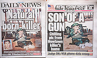 Front pages of New York newspapers on Saturday, December 28, 2013 report on the release of the report of the December 14, 2012 shooting by Adam Lanza of 26 people in the Sandy Hook Elementary School in Newtown CT, 20 of the victims were children aged 5-10. Both papers ran a photo from the report of Adam Lanza as a toddler with a gun on the cover.(© Richard B. Levine)