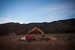 BAJA CALIFORNIA - NOVEMBER 26, 2013:  A water catchment reservoir is the first step in construction of a new winery in Baja California's Valle de Guadalupe. A shortage of water in the desert peninsula is one of the main reasons residents and wineries in Mexico's wine country are protesting the mayor's relaxing of zoning regulations they say will lead to a drastic change in the culture of  the popular tourist destination.  CREDIT: Max Whittaker for The New York Times