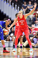 Washington, DC - August 12, 2018: Washington Mystics All-Star guard Elena Delle Donne (11) plays defense against Dallas Wings guard Allisha Gray (15) during game between the Washington Mystics and the Dallas Wings at the Capital One Arena in Washington, DC. (Photo by Phil Peters/Media Images International)