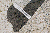 Als Solidaritaetsaktion fuer Fluechtlinge besetzten Unterstuetzer am Freitag den 11. Juli 2014 kurzzeitig das Museum am Checkpoint Charlie in Berlin. Sie kletterten auf das Vordach des Museum und hielten Transparente auf denen ein Aufenthalt nach §23 Auslaendergesetz (Aufenthaltserlaubnis aus humanitaeren Gruenden) und die Forderung nach sicherem Aufenthalt gefordert wird. Zudem wurde die Kreuzung vor dem Museum blockiert. An flanierende Touristen wurden mehrsprachige Flugblaetter verteilt. In dem Museum wird die Geschichte der Flucht aus der DDR gezeigt.<br /> Nach 15 Minuten wurde die friedliche Aktion beendet.<br /> 11.7.2014, Berlin<br /> Copyright: Christian-Ditsch.de<br /> [Inhaltsveraendernde Manipulation des Fotos nur nach ausdruecklicher Genehmigung des Fotografen. Vereinbarungen ueber Abtretung von Persoenlichkeitsrechten/Model Release der abgebildeten Person/Personen liegen nicht vor. NO MODEL RELEASE! Don't publish without copyright Christian-Ditsch.de, Veroeffentlichung nur mit Fotografennennung, sowie gegen Honorar, MwSt. und Beleg. Konto: I N G - D i B a, IBAN DE58500105175400192269, BIC INGDDEFFXXX, Kontakt: post@christian-ditsch.de<br /> Urhebervermerk wird gemaess Paragraph 13 UHG verlangt.]