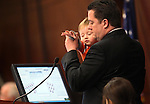 Nevada Assembly Speaker John Oceguera, D-Las Vegas, is joined on the Assembly floor by his son Jackson on Friday, May 20, 2011, at the Legislature in Carson City, Nev. .Photo by Cathleen Allison