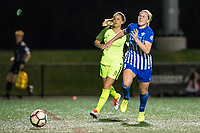 Boston, MA - Saturday April 29, 2017: Lauren Barnes and Natasha Dowie during a regular season National Women's Soccer League (NWSL) match between the Boston Breakers and Seattle Reign FC at Jordan Field.