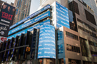 Morgan Stanley engages in self-promotion on the digital display on their building in New York on Thursday, February 16, 2017. (© Richard B. Levine)