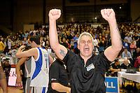 Shane Heal celebrates winning the national basketball league final Hawks v Saints at TSB Bank Arena, Wellington, New Zealand on Saturday 5 July 2014. <br /> Photo by Masanori Udagawa. <br /> www.photowellington.photoshelter.com.