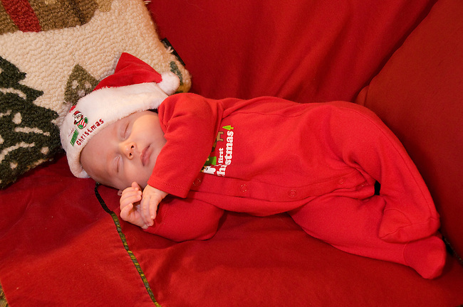 Maggie Mellott, dreaming of Santa, first Christmas, baby, sleeping, Estes Park, Colorado, USA