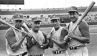 Old Timers at the A's game (1968).Cookie Lavagetto, Dario Lodigani, Mel Dezebouz, and George Metkovich. (photo by Ron Riesterer).