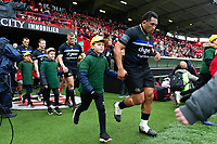 Anthony Perenise and the rest of the Bath Rugby team run onto the field. Heineken Champions Cup match, between Stade Toulousain and Bath Rugby on January 20, 2019 at the Stade Ernest Wallon in Toulouse, France. Photo by: Patrick Khachfe / Onside Images