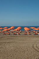 Beach parasols and beach chairs,Playa de La s Americas,Tenerife, Canary Islands, Spain,Canary Islands