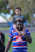 Timoci Serawalu with his kids after the 2018 Heartland Championship Lochore Cup rugby semifinal between Horowhenua Kapiti and Mid-Canterbury at Levin Domain in Levin, New Zealand on Saturday, 20 October 2018. Photo: Dave Lintott / lintottphoto.co.nz