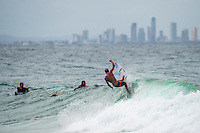 Coolangatta, Queensland, Australia. (Wednesday, January 29, 2014) –  The swell was from the south east this morning in the 5'-6' range. The wind was  from the South East as well and with a Cyclone Dane forming in the Coral Sea the surf improved throughout the day.  Photo: joliphotos.com