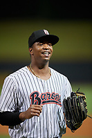 Birmingham Barons left fielder Eloy Jimenez (21) after a game against the Pensacola Blue Wahoos on May 8, 2018 at Regions FIeld in Birmingham, Alabama.  Birmingham defeated Pensacola 5-2.  (Mike Janes/Four Seam Images)